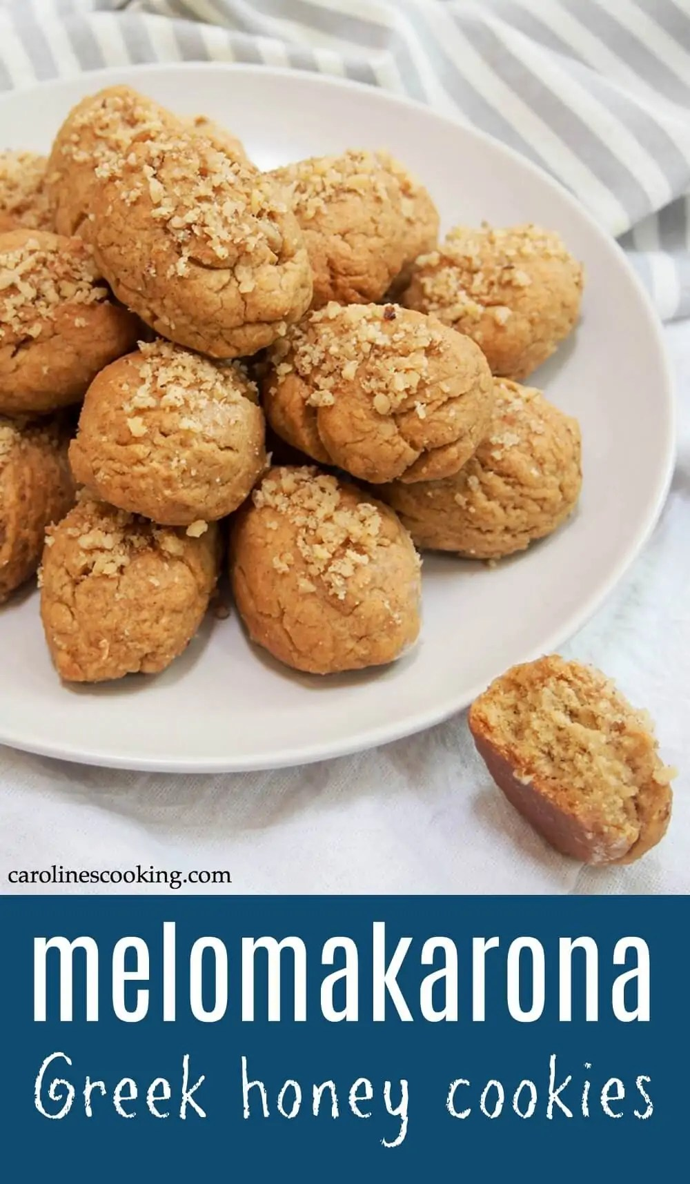 Melomakarona are a classic Greek cookie, with a gently spiced flavor in the dough and finished by dipping them in honey syrup (why they're often called honey cookies). All combined makes these some tasty bites! #cookie #greekfood #christmas #baking #honey