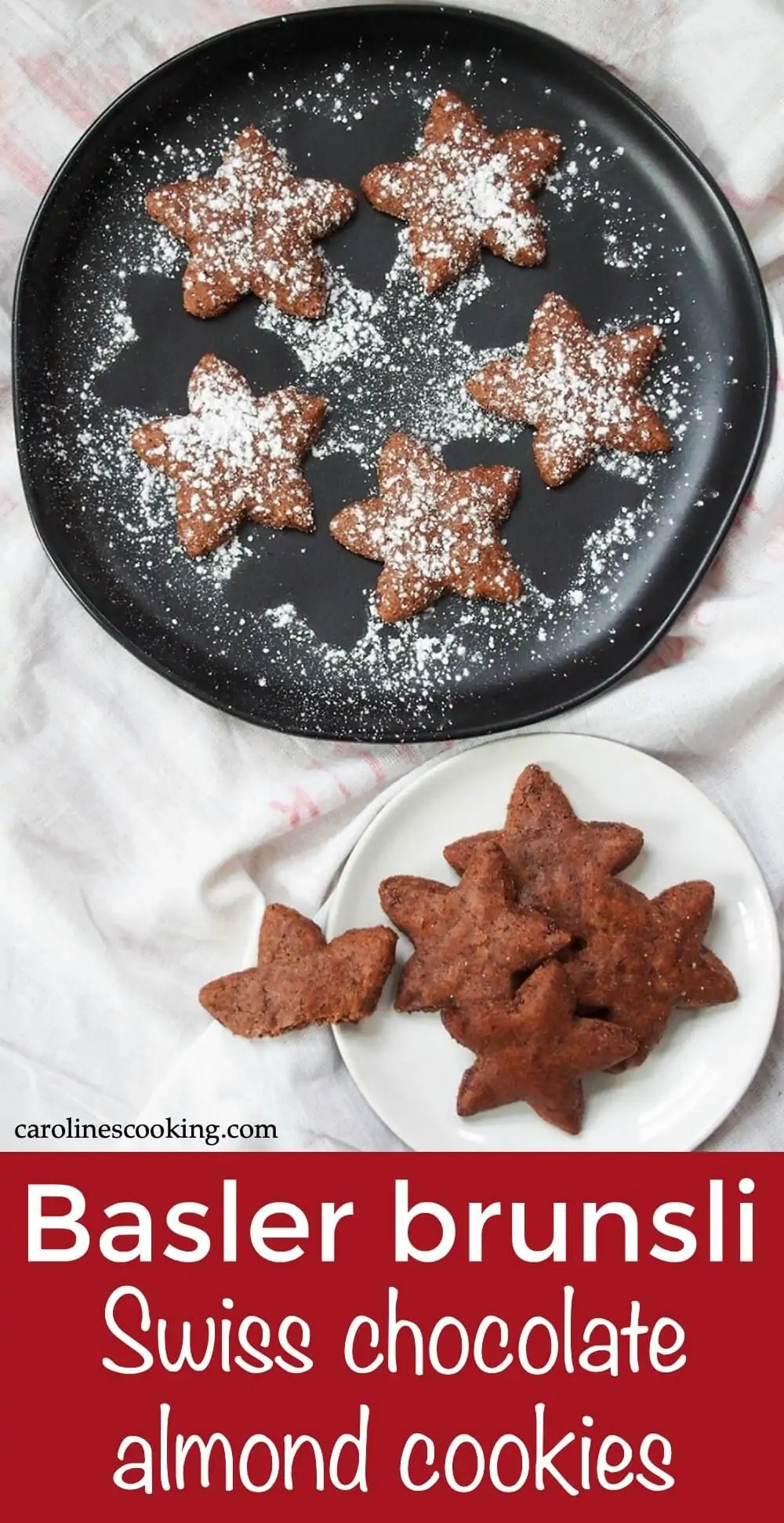 Basler brunsli are a traditional Swiss Christmas cookie made with almonds, chocolate and a touch of spice. You might need to wait a little, but these cookies are easy, naturally gluten free and deliciously good. #cookie #chocolate #glutenfree #christmascookie