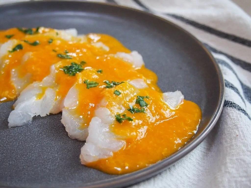 Tiradito - Peruvian sashimi with chili sauce