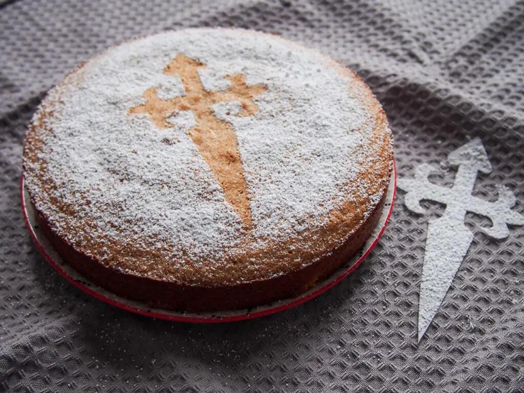 tarta de Santiago cake with St John's cross template to side