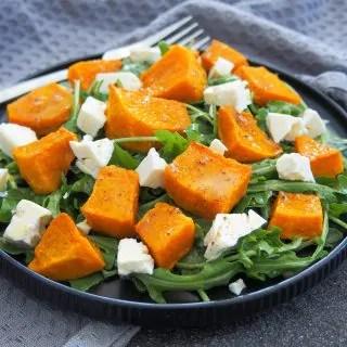 plate of roasted kabocha squash salad with feta