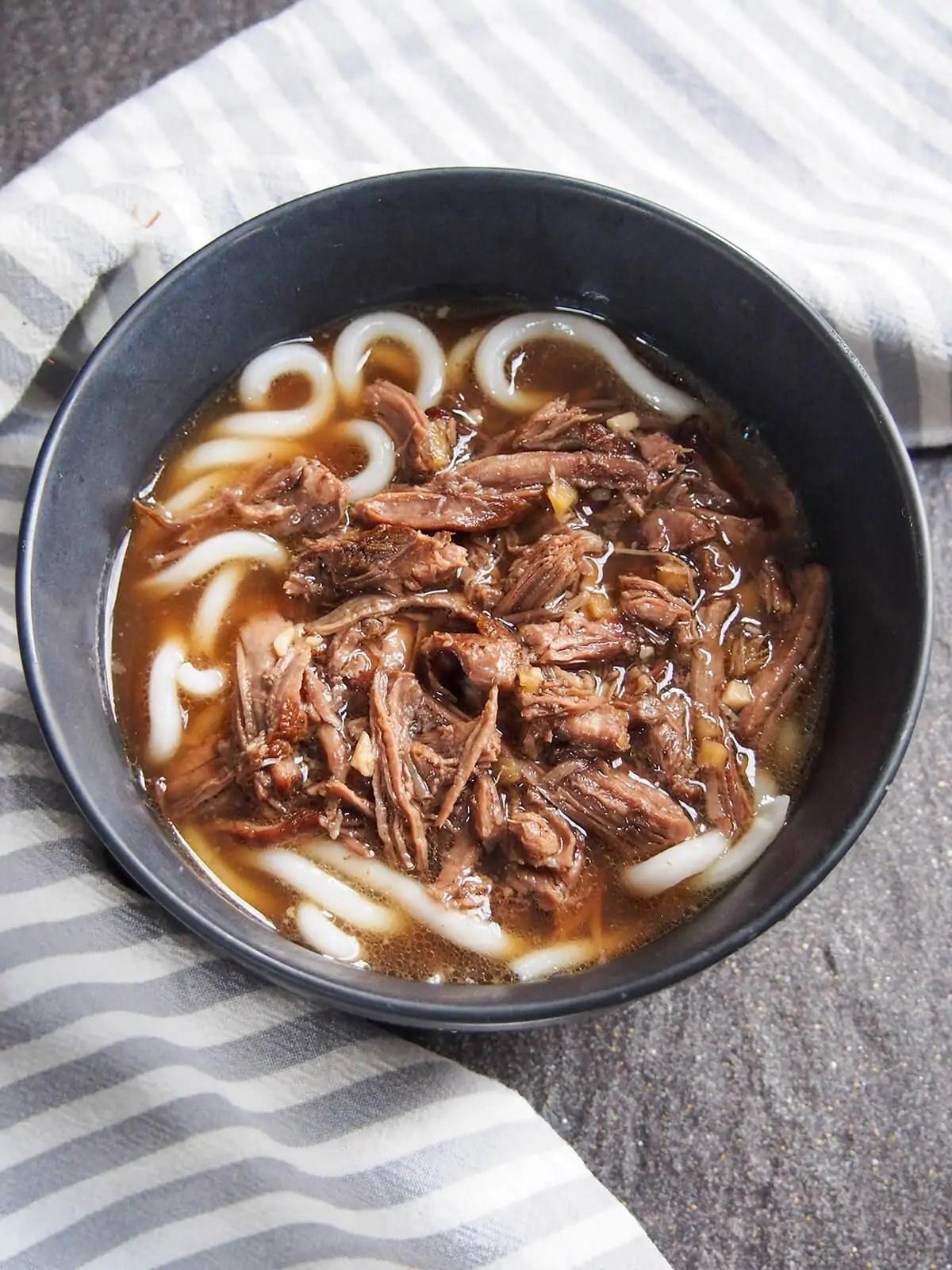 bowl of short rib beef udon
