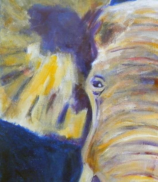 purple and yellow elephant, acrylic elephant