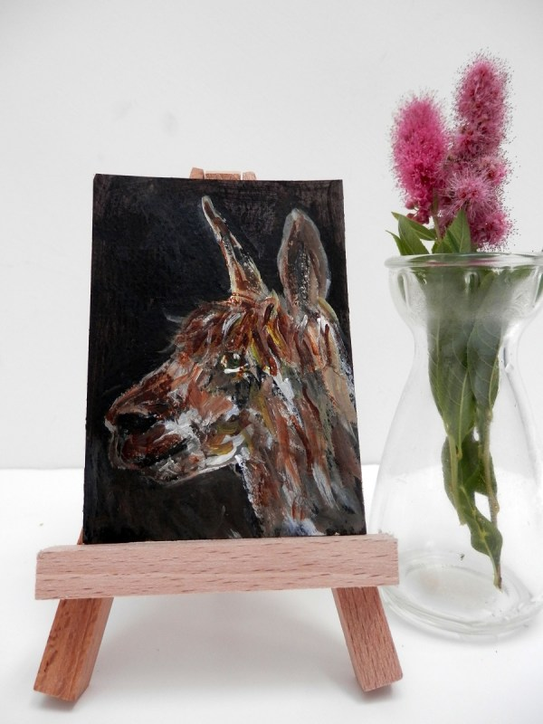 brown alpaca painting, alpaca ACEO, brown alpaca gift, llama art, alpaca art print