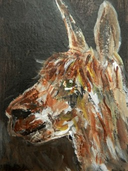 brown alpaca painting, brown alpaca ACEO, alpaca trading card, llama gift, miniature alpaca, alpaca art print, brown miniature alpaca painting