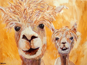 framed golden yellow alpaca painting, yellow alpaca art, llama gift, golden yellow alpaca wall art