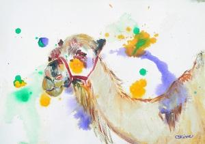 camel painting, camel art, desert art