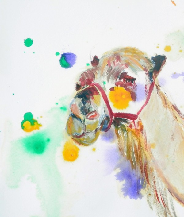 camel painting, camel art, desert painting, colourful smling camel print, colourful smiling camel print
