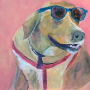 cool dog, Golden Labrador painting