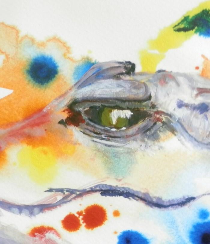 crocodile art, reptile painting, crocodile gift, smiling crocodile art print