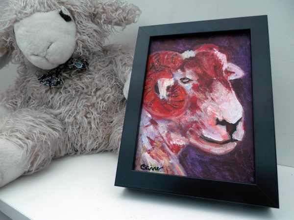 red sheep painting, sheep portrait, horned sheep, red ram, red sheep art, framed farm animal painting, red sheep decor