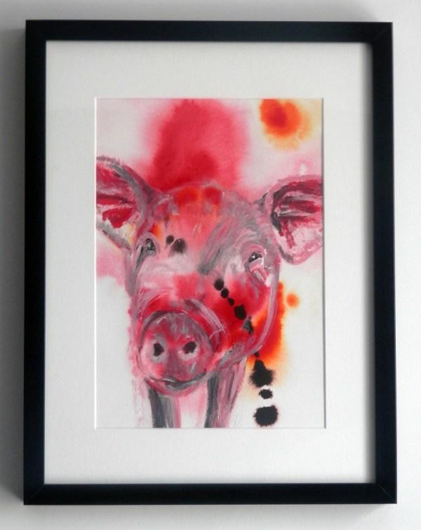 pig painting, red Red framed pig art, cute pig artwork