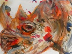 original rhino painting, colourful rhino, IFAW, black rhino art