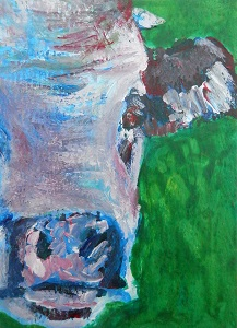 small cow painting, miniature cow art, farm animal painting