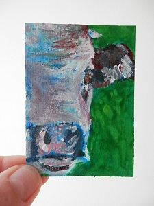 miniature cow painting, cow ACEO, purple and blue cow art, miniautre cow art print, original cow art