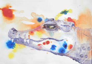 crocodile painting, reptile art, framed smiling crocodile, s miling crocodile art print