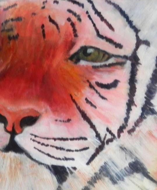 tiger painting, framed tiger portrait, acrylic tiger art
