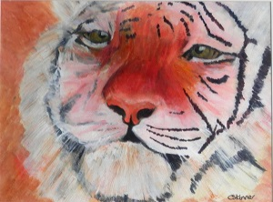 amur tiger, tiger gift, tiger painting, tiger portrait, rare big cat painting, tiger art print