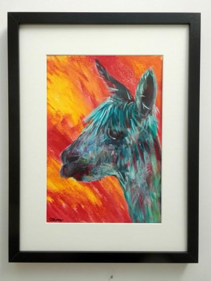 alpaca art, turquoise farm animal art, funky alpaca painting, colourful art, abstract art