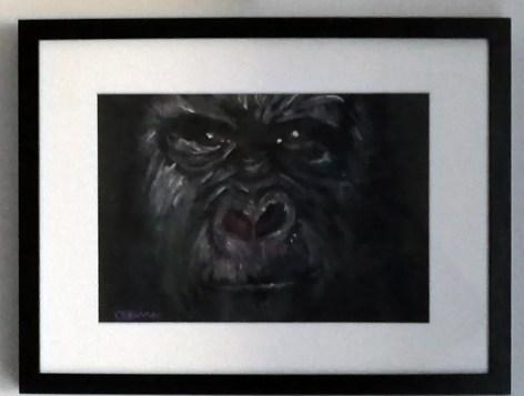 gorilla portrait, gorilla art, ape painting