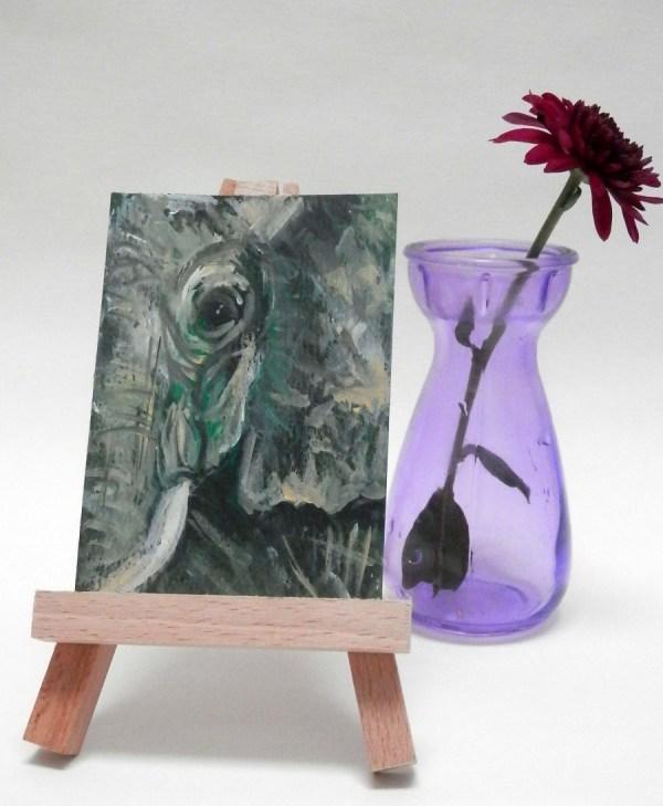 green elephant, elephant ACEO, elephant on miniature easel, african elephant painting, miniature green elephant print