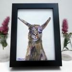 small framed llama painting, acrylic llama art, unique llama art