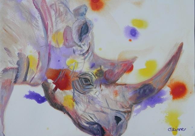 rhino painting, abstract rhino art, acrylic rhino painting, purple black rhino print