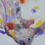 rhino painting, abstract rhino art, acrylic rhino painting, purple black rhino print