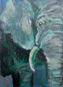 small green elephant, elephant ACEO