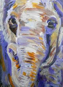 small elephant portrait, purple elephant ACEO, miniature elephant painting, acrylic elephant ACEO