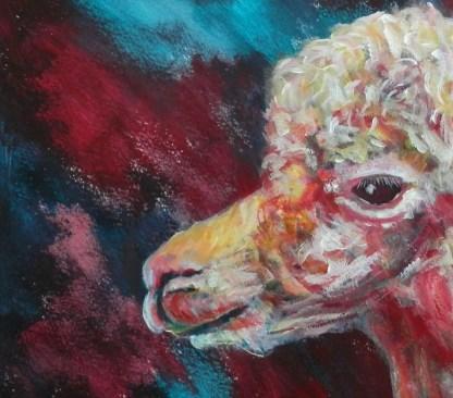 farm animal art, red alpaca, llama gift, smiling alpaca painting, red and teal art