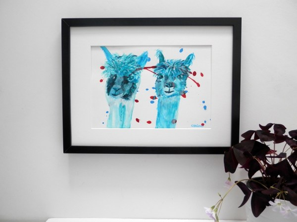 turquoise farm animal painting, alpacas in acrylic, llama art, teal alpaca painting