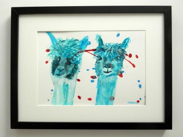 blue farm animal painting, blue alpacas, blue llama art, cute alpacas, teal alpaca painting