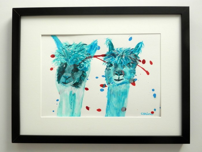 blue farm animal painting, blue alpacas, blue llama art, cute alpacas, teal alpaca painting