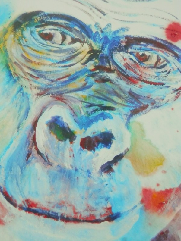 blue gorilla, gorilla painting, ape art, western lowland gorilla art print, blue wildlife art
