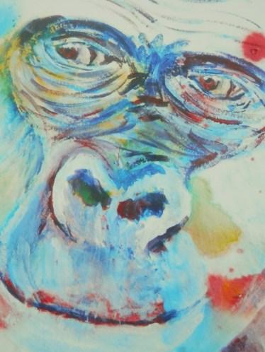 blue gorilla, gorilla painting, ape art
