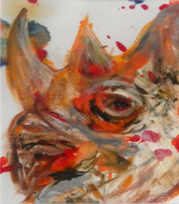 rhino art, rhino painting, black rhino, wildlife art