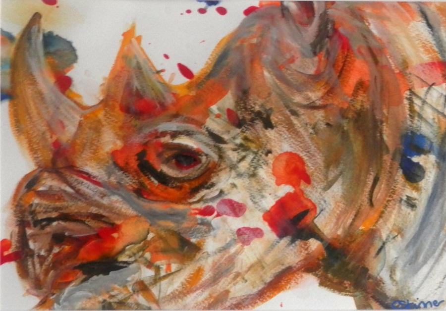 rhino art, rhino painting, rhino gift