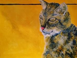 tabby cat art print, golden yellow painting, cat home decor, homeware, tabby cat coaster