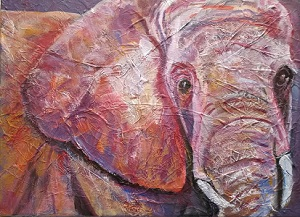 ultra violet elephant, original acrylic painting, wildlife painting