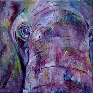 purple elephant painting, square elephant painting, framed elephant art, purple elephant up close