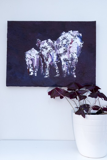 elephant herd art, purple elephant family painting, family of elephants artwork, purple elephant family