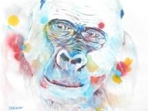 western lowland goriila art print, gorilla gift, wildlife art