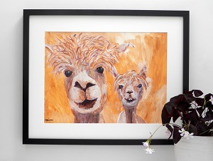 Golden yellow alpaca couple, original acrylic farm animal painting