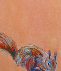 Red squirrel painting, orange animal art, red squirrel print, British wildlife
