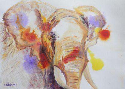 ALfrican elephant art, abstract elephant, wildlife art. elephant wall decor, framed double mounted elephant acrylic painting