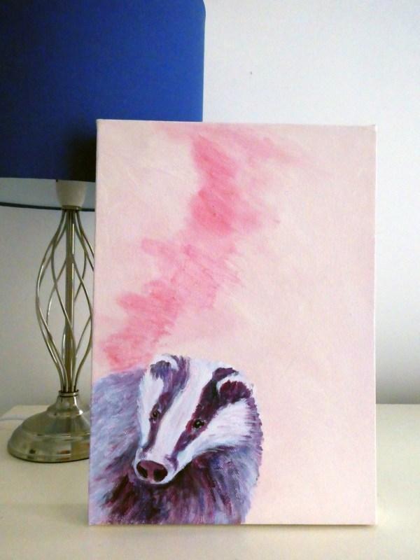 Badger Watch, pink and purple acryllic badger paintingic badger painting, British wildlife box painting, British wildlife art, pink home decor