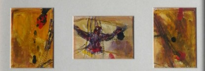 Golden yelloe birds painting, London landmark artwork, framed abstract bird painting