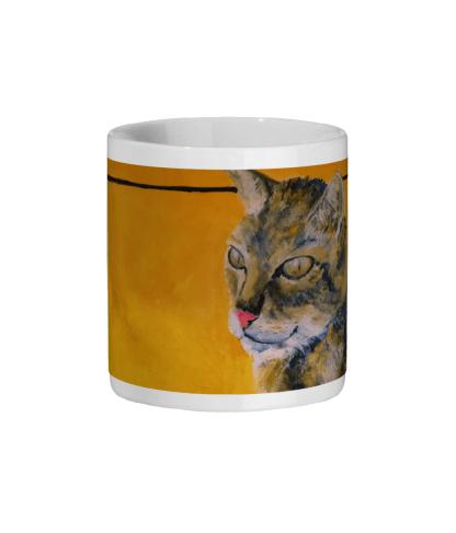 Tabby cat ceramic mug, animal mug, gift for cat lovers