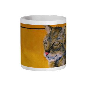 Tabby cat ceramic mug, animal mug, gift for cat lovers